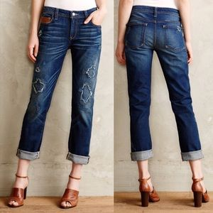 Anthropologie Pilcro distressed embroidered jeans